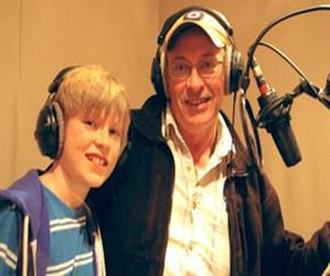 Image of voiceover actors William Healy as Franklin the Turtle, with father and coach Christopher Healy in the studio for the cartoon character Franklin the Turtle.